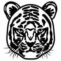 正面を向いた虎の白黒イラスト
