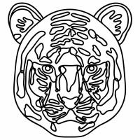 正面を向いた虎の顔の線画【白黒イラスト】