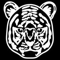 正面を向いた虎の顔の白黒イラスト