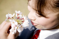 桜の匂いを嗅ぐ女子高生