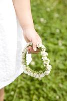 花冠を持つ女の子の手元