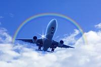 飛行機と虹
