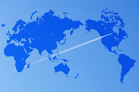 地図と飛行機雲