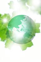 世界地図と新緑