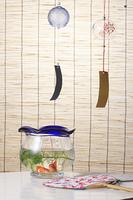 スダレと団扇と金魚鉢