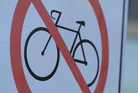 ベニスビーチの自転車進入禁止サイン