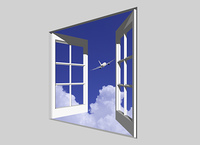 窓から飛行機と入道雲