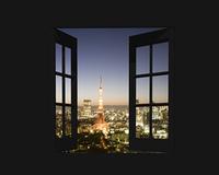 窓から東京の夜景