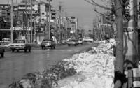 原宿・雪の残る明治通り