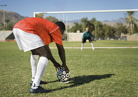 Soccer Player Preparing Free Kick