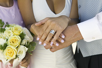 Close-up of Bride's Hands and Wedding Ring
