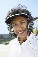 Smiling Woman on the Tennis Court