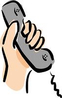 受話器を持つ手