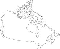 カナダの白地図
