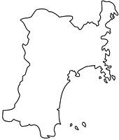 宮城県の白地図