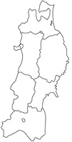 東北地方の白地図