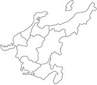 中部地方の白地図