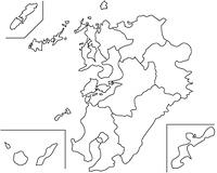九州地方の白地図