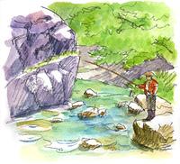渓流と釣り人