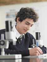 High School Student in Chemistry Class