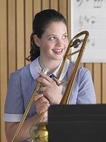 High School Student Practicing Trombone