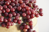 Red Grapes and Wine Barrel