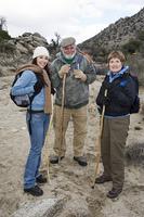 Three people hiking, portrait