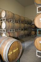 Wine barrels in winery