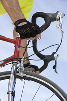 Senior man cycling