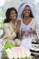 Bride with her mother at bridal shower
