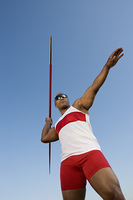 Javelin throwing, low angle view