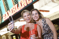Two women in front of casino building