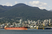 Cargo ship in Vancouver Harbour, British Columbia
