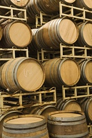 Wine barrels in storage, Santa Maria, California
