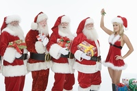 Group of men dressed as Santa Claus, Mrs Claus holding mistletoe