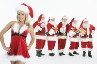 Group of men dressed as Santa Claus, Mrs Claus in foreground