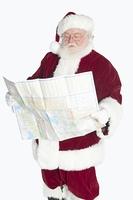 Santa Claus holding map