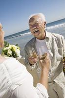 Senior Newlyweds Sharing a Toast