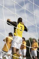 Soccer Goalie Reaching for the Ball