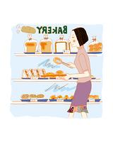パンを選ぶ女性