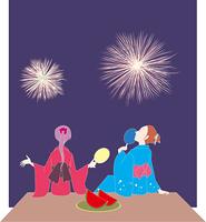 花火と浴衣の女性