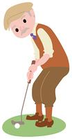 ゴルフをするシニアの男性