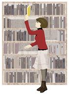 図書館で本を探す女性