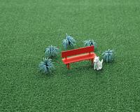 クラフト(赤いベンチとイヌ)