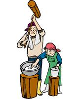 餅つきをする男女(イラスト)