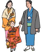 初詣でに行く家族(イラスト)