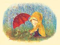 雨の日の男の子(イラスト)