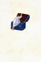 箱に隠れる女の子(イラスト)