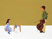 チェロを持つ男性と女の子(イラスト)