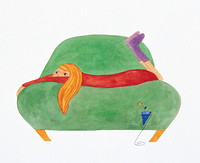 ソファーに寝そべる女の子(イラスト)